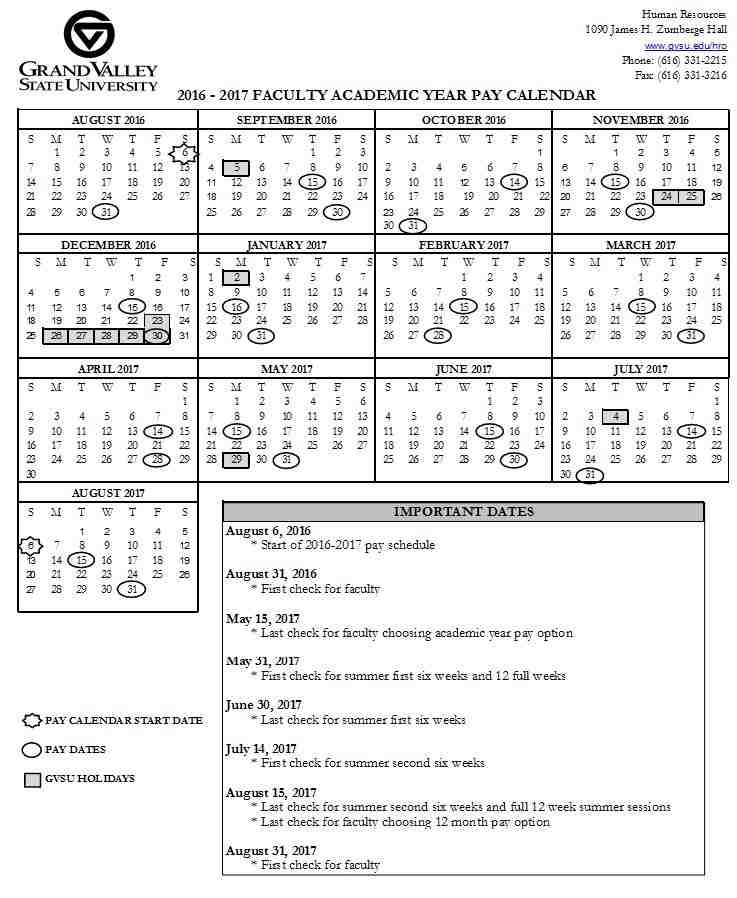 Pay and Holiday Calendars Payroll Office Grand Valley State